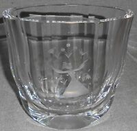 Vintage ORREFORS CRYSTAL Signed ETCHED VASE Girl w/Birds - Flowers SWEDEN
