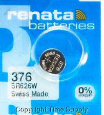 Sr626W 376 Free Ship 0% Mercury 1 pc 376 Renata Watch Batteries