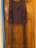 Hippie Hippy Ethnic Boho Embroidered Beaded Tassle Waistcoat XS