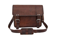 "Men's Brown Leather Messenger Bag 15"" Laptop MacBook Satchel Crossbody Bag"