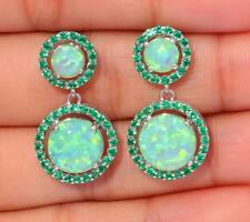 **NEW** Silver/Rhodium Plated EMERALD GREEN LAB FIRE OPAL/QUARTZ Stud Earrings