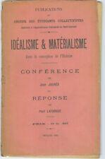 JAURES  Idéalisme et matérialisme   Réponse de Paul Lafargue 1895