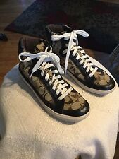 Coach ELLIS Signature Jacquard/Leather High Top Sneakers {Brown/Khaki} ~ Sz 7b