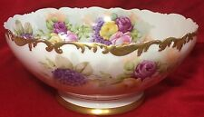 """ANTIQUE T&V LIMOGES 9 1/2"""" HANDPAINTED FLORAL PUNCH BOWL EARLY 1900's STUNNING"""