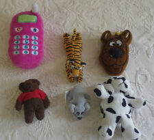 Lot 6 Mini Stuffed Animals Scooby Doo Keychain Cell Phone Tiger Bear Pound Puppy