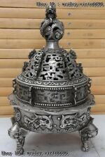 Chinese Copper Silver Elephant Foot Dragon Foo Dog Beast Incense Burner Censer