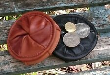 AUSTRALIAN HAND MADE KANGAROO LEATHER FOLDING / FOLD-UP LEATHER COIN PURSE
