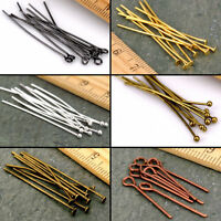 50/200X Gold Copper Bronze Silver Eye Pin Flat Head Pins Needles 16-60mm Craft