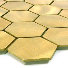 MUSTER Mosaikfliesen Aluminium Manhatten Hexagon Gold   Bad Badezimmer WC Küche