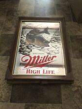Miller High Life Beer Wildlife Series Walleye Fish Wood Frame Mirror Sign New
