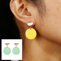 Green Yellow Circle Women Jewelry Wedding Round Stud Party  Drop Dangle Earrings