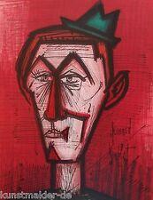 BUFFET Bernard (1928-1999) Original Lithographie 1967 : Clown auf rotem Grund