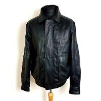 Lakeland Mens Leather Bomber Jacket Size 40 Black Collared Zip Soft Feel
