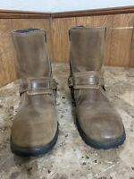 Men's VARESE Brown CHOPPER Motorcyle Bike Leather Side Zip Boots Size 9 Shoes