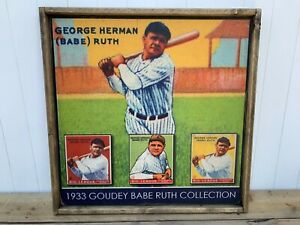 Rustic Style Direct Print to Wood Babe Ruth 1933 Goudey Display WOW 12x12