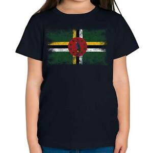 DOMINICA DISTRESSED FLAG KIDS T-SHIRT TOP DOMINICAN SHIRT FOOTBALL JERSEY GIFT
