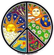 Dan Morris Sun, Moon & Seasons Peace Sign - Window Art Sticker / Decal
