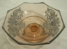 """Elegant Pink Octagon Glass Low Compote/Dish With Sterling Silver Overlay 7 1/4"""""""