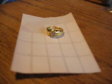 New Gold Plated Clear Solitaire CZ Rhinestone Band Ring Size 6.5