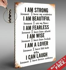 I AM STRONG *Motivational A4 Poster * Life Quote Shabby Sign Home Wall Art Gift