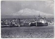 0212 CATANIA CITTÀ - PORTO - ETNA Cartolina viaggiata 1957