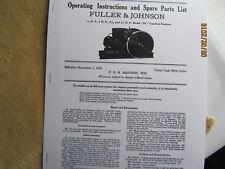 1929 1 12 2 12hp Nc Fuller Johnson Gas Engine Instructionsparts Manual