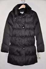 NWT Women's Larry Levine, Down Puffer Coat W/ Detachable Faux Fur Collar. Size S
