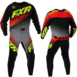 """New 2021 FXR Clutch MX Kit Combo Black/Grey/Hi-Vis/Nuke 34"""" Pant + X-Large Shirt"""
