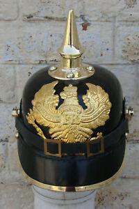 Prussian Leather Helmet FR German Pickelhaube WWi WWii Officer Costume Dress Hat
