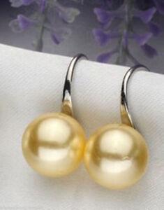 8/10/12mm Genuine Yellow South Sea Shell Pearl Silver Dangle Earrings