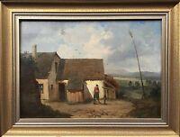 Franz Sager (1821-c.1891) Austria - Farmhouse with People - Romantics