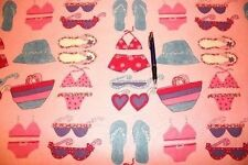 Bikini, lunettes de soleil et sandales tissu. vendu par mètre