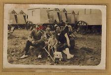 Carte Photo vintage card RPPC famille fillette jouet plage cabines kh0266