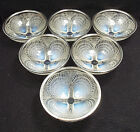 Antique R Lalique Crystal Coquilles 6 Opalescent Bowls #3204 w/ 950 Silver Rims