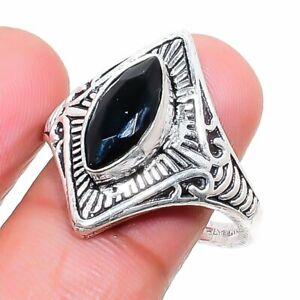 London Blue Topaz Gemstone Handmade 925 Sterling Silver Jewelry Ring Size 8 H643
