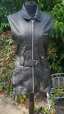 Ladies Black Leather Waistcoat Biker Gilet L Size 12/14 vintage