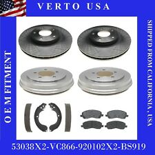 Front Brake Rotors+Pads+Rear Drum+ Shoes For Jeep Compass, Patriot Base on Chart