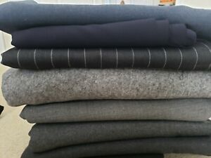 Vintage Wool Suiting Fabric Lot (7),  High Quality Gray & Navy Fabric, Stretchy
