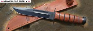 NEW KA-BAR 1217 FULL SIZE USMC KNIFE 1095 CRO-VAN BLACK W/ FREE FLASHLIGHT USA