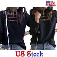 Women Fashion Black Lace Shirts Tops Lady Formal Casual Long Sleeve Blouse US