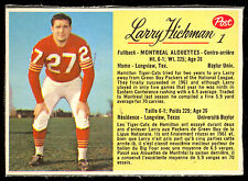 1963 POST CFL FOOTBALL #1 LARRY HICKMAN EX-NM MONTREAL ALOUETTES BAYLOR PACKERS