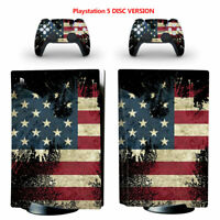 USA Flag Vinyl Decal Skin Sticker Cover for PS5 Console Controllers Disc Version