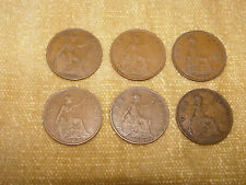 6x GEORGE V PENNY COINS PENNIES 1920-1936 CIRCULATED USED PENNY COLLECTABLES