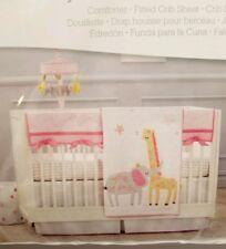 Just Born three 3-Piece Crib Bedding Bed Set pink elephants giraffe zoo Girls