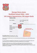 GEORGE JONES SHEFFIELD UTD 1936-1951 RARE ORIGINAL HAND SIGNED CUTTING/CARD