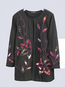 ULLA POPKEN BLACK EMBROIDERED Floral Cotton Jacket Plus Size UK 20/22