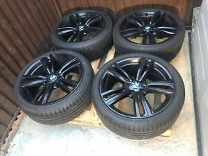 "GENUINE BMW 3/4 SERIES 19 ""INCH 442M GLOSS BLACK ALLOY X4 WHEELS, 4 NEW RUNFLATS"