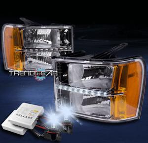 FOR 2007-2013 GMC SIERRA 2500 3500 HD DENALI CHROME LED HEADLIGHT +8000K HID KIT