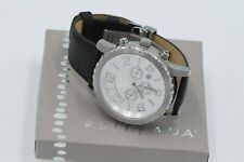 Silpada Black Leather Stainless Steel Watch