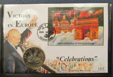 """First Day Coin Cover """"Victory In Europe"""" with 5 Crown coin (Turks and Caicos)"""